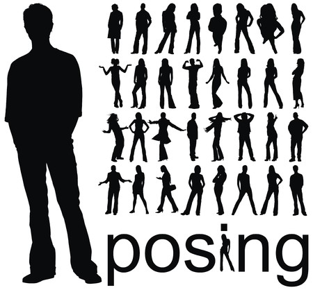 reach: high quality traced posing people silhouettes vector illustration Illustration