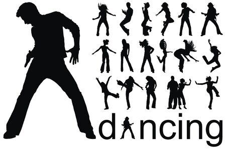 chicas bailando: alta calidad remonta ilustraci�n de vector de siluetas de personas bailando