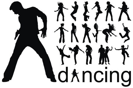 high quality traced dancing people silhouettes vector illustration Vector