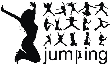 reach: high quality traced jumping people silhouettes vector illustration Illustration