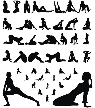 woman erotic and sporty silhouettes collection vector illustration Stock Vector - 5483249