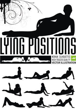 Frau in liegender Position Vektor-Illustration