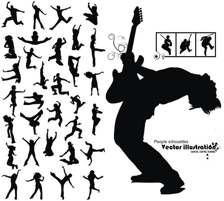 a lot of high quality traced dancing jumping running people silhouettes Vector