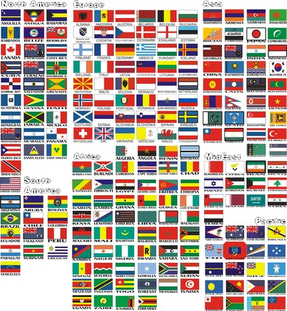 alphabetical order: the national flags of all countries of the world separated by continents and reduced by alphabetical order Illustration