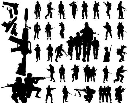 soldado: siluetas de soldados y armas Vectores