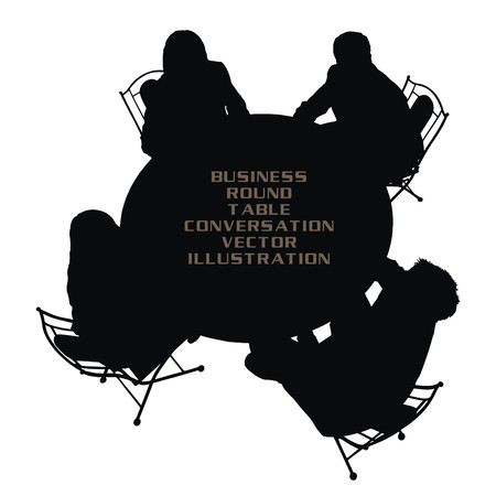 companies: round table business conversation vector illustration