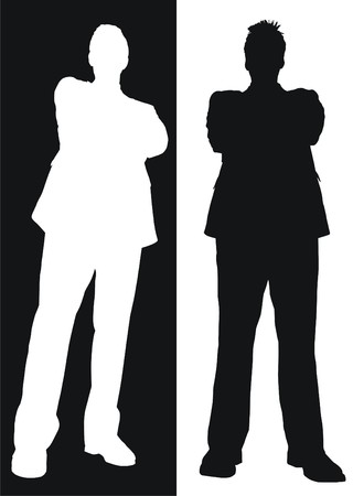 black and white posing business people Vector