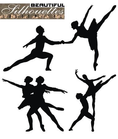 ballet dancing: coppie di balletto vettoriale illustrazione