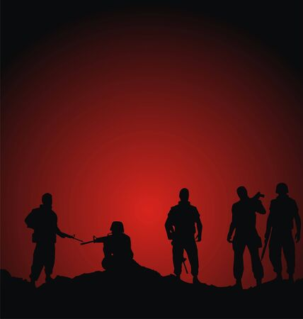 soldiers standing against sunset abstract background vector illustration Stock Illustration - 6261138