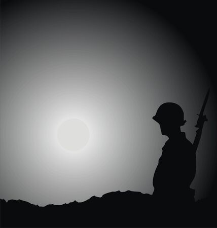 kalashnikov: soldier being on guard against moon abstract background vector illustration
