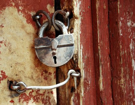 door bolt: Old grunge door lock Stock Photo