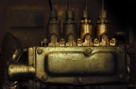 old tractor: vintage engine system  Stock Photo
