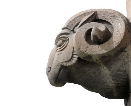 armenia: isolated statue of sheep head