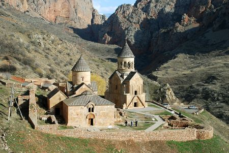 armenia: aerial view of old medieval monastery complex Stock Photo