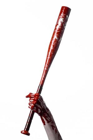 diabolic: bloody hand holding a baseball bat, a bloody baseball bat, bat, blood sport, killer, zombies, halloween theme, isolated, white background studio Stock Photo