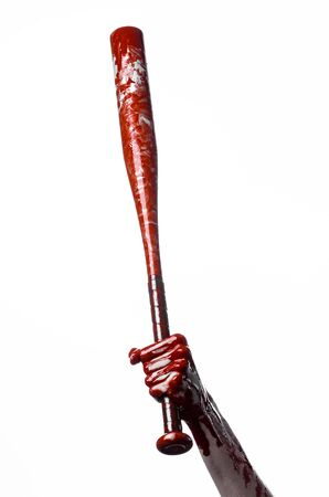 blood sport: bloody hand holding a baseball bat, a bloody baseball bat, bat, blood sport, killer, zombies, halloween theme, isolated, white background studio Stock Photo