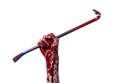 diabolic: Bloody hands with a crowbar, hand hook, halloween theme, killer zombies, white background, isolated, bloody crowbar studio