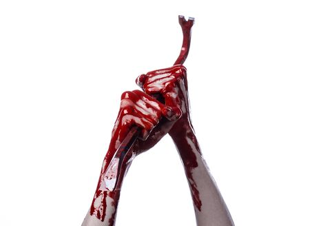 crowbar: Bloody hands with a crowbar, hand hook, halloween theme, killer zombies, white background, isolated, bloody crowbar studio