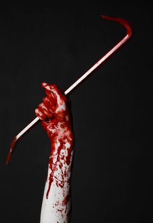 crowbar: Bloody hands with a crowbar, hand hook, halloween theme, killer zombies, black background, isolated, bloody crowbar studio