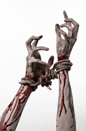 diabolic: Hands bound,bloody hands, mud, rope, on a white background, isolated, kidnapping, zombie, demon studio