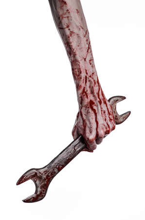 carnage: bloody hand holding a big wrench, bloody wrench, big key, bloody theme, halloween theme, crazy mechanic, murderer, psycho, violence, zombies, white background, isolated, revolution studio