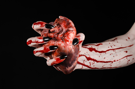 walking corpse: Bloody horror and Halloween theme: Terrible bloody hands with black nails holding a bloody human heart on a black background isolated background