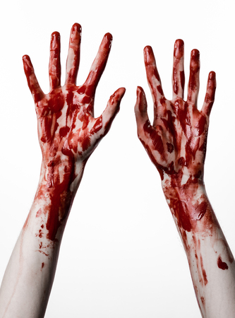 diabolic: Bloody halloween theme: bloody hands killer zombie isolated on white background in studio