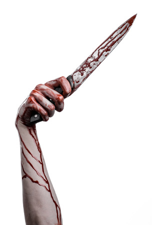 carnage: bloody hand holding a knife, a large bloody knife, bloody theme, a killer with a knife, halloween theme, white background, isolated, violence, suicide, murder, a thug, a butcher studio