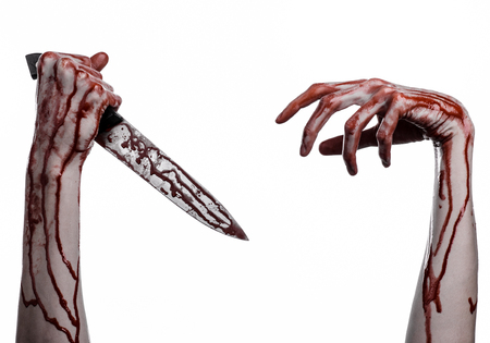 thug: bloody hand holding a knife, a large bloody knife, bloody theme, a killer with a knife, halloween theme, white background, isolated, violence, suicide, murder, a thug, a butcher studio