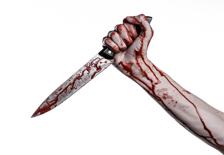 bloody hand holding a knife, a large bloody knife, bloody theme, a killer with a knife, halloween theme, white background, isolated, violence, suicide, murder, a thug, a butcher studio