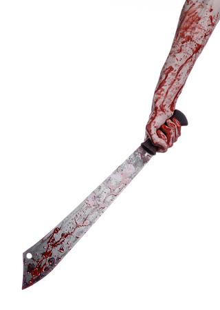 hatchet man: Halloween theme: hand holding a bloody machete on a white background Stock Photo