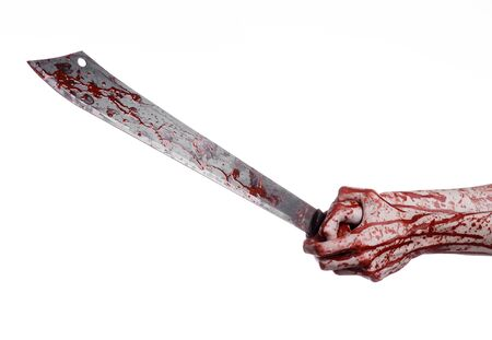 hatchet man: Halloween theme: hand holding a bloody machete on a white background Stock Photo