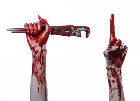 carnage: bloody hand holding an adjustable wrench, bloody key, crazy plumber, bloody theme, halloween theme, white background,isolated , bloody hand of an assassin, bloody murderer, psycho, bloody monkey wrench