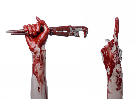 assassin: bloody hand holding an adjustable wrench, bloody key, crazy plumber, bloody theme, halloween theme, white background,isolated , bloody hand of an assassin, bloody murderer, psycho, bloody monkey wrench