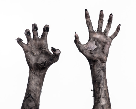 black hand of death, the walking dead, zombie theme, halloween theme, zombie hands, white background, isolated, hand of death, mummy hands, the hands of the devil, black nails, hands monster Фото со стока