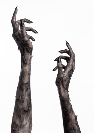 black hand of death, the walking dead, zombie theme, halloween theme, zombie hands, white background, isolated, hand of death, mummy hands, the hands of the devil, black nails, hands monster Banque d'images