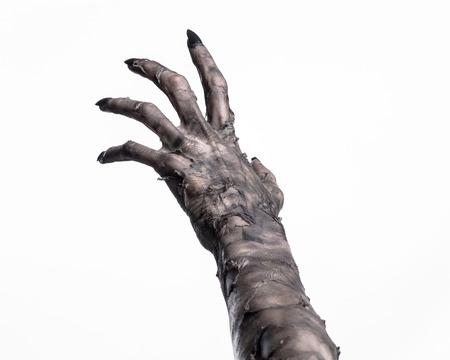 zwarte hand van de dood, de wandelende doden, zombiethema, halloween-thema, zombiehanden, witte achtergrond, geïsoleerd, hand van de dood, mummiehanden, de handen van de duivel, zwarte nagels, handenmonster