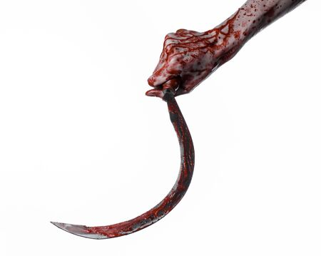 thug: bloody hand holding a sickle, sickle bloody, bloody scythe, bloody theme, halloween theme, white background, isolated, killer, psycho, thug, a bloody knife, bloody hands of zombies, cutthroat