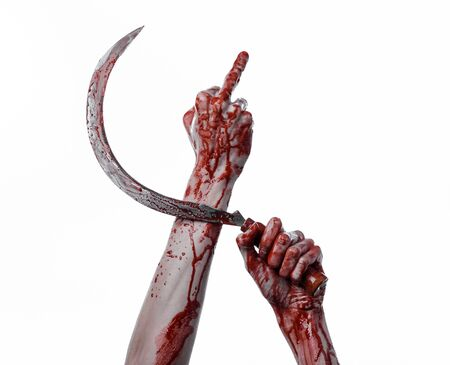 hatchet man: bloody hand holding a sickle, sickle bloody, bloody scythe, bloody theme, halloween theme, white background, isolated, killer, psycho, thug, a bloody knife, bloody hands of zombies, cutthroat