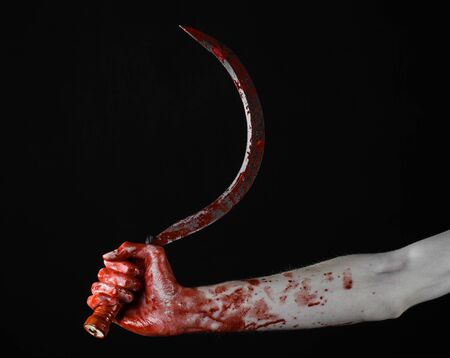 hatchet man: bloody hand holding a sickle, sickle bloody, bloody scythe, bloody theme, halloween theme, black background, isolated, killer, psycho, thug, a bloody knife, bloody hands of zombies, cutthroat