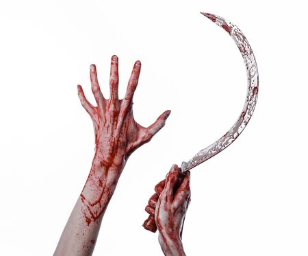 psycho: bloody hand holding a sickle, sickle bloody, bloody scythe, bloody theme, halloween theme, white background, isolated, killer, psycho, thug, a bloody knife, bloody hands of zombies, cutthroat