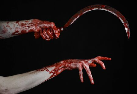 thug: bloody hand holding a sickle, sickle bloody, bloody scythe, bloody theme, halloween theme, black background, isolated, killer, psycho, thug, a bloody knife, bloody hands of zombies, cutthroat
