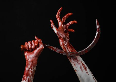 psycho: bloody hand holding a sickle, sickle bloody, bloody scythe, bloody theme, halloween theme, black background, isolated, killer, psycho, thug, a bloody knife, bloody hands of zombies, cutthroat