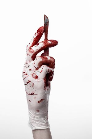 scalpels: Bloody hands in gloves with the scalpel, white background, isolated, doctor, killer, maniac studio