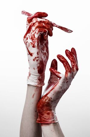 maniac: Bloody hands in gloves with the scalpel, white background, isolated, doctor, killer, maniac studio