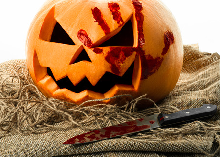 Bloody pumpkin, jack lantern, pumpkin halloween, halloween theme, pumpkin killer, bloody knife, bag, rope, white background, isolated
