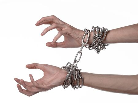 wrist cuffs: Social theme: hands tied a metal chain on a white background