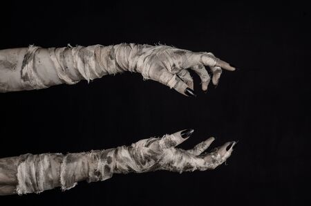 mummification: Halloween theme: terrible old mummy hands on a black background Stock Photo