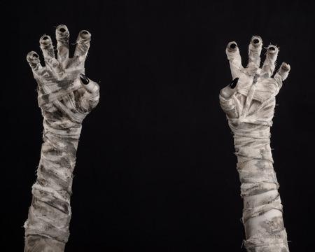 mummification: Halloween theme: terrible old mummy hands on a black background Stock Photo