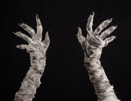 Halloween theme: terrible old mummy hands on a black background Banco de Imagens